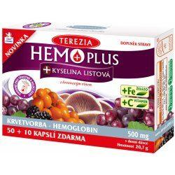 Nejlevnější Terezia Company Hemo plus+kyselina listová + železo + vitamin C 60 kapslí